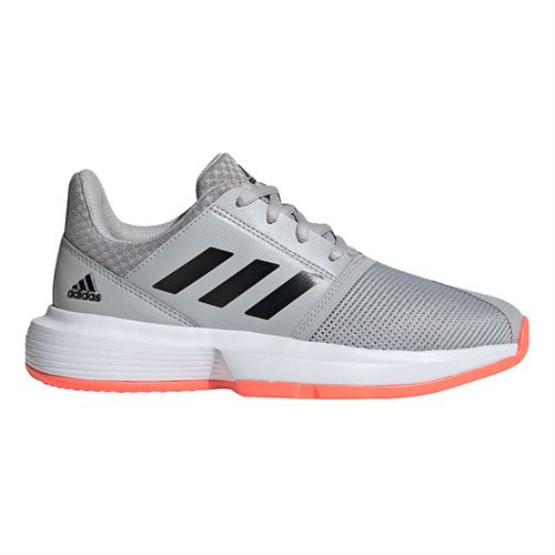 adidas Court Jam Junior Tennis Shoe Grey Two/Core Black/Signal Coral EH1102