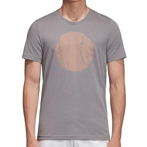 adidas Flushing Graphic Tee Shirt Mens Grey Three EJ6336