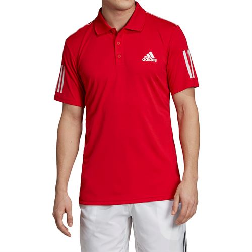 adidas Club 3 Stripe Polo - Scarlet