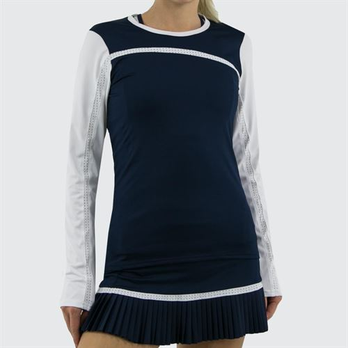Inphorm Classic Daphne Long Sleeve Top - Navy/White