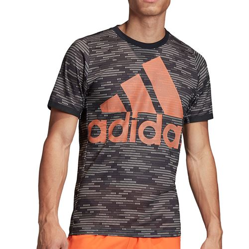 adidas Primeblue Logo Tee Shirt Mens Black/True Orange FJ3449