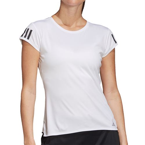 adidas Club 3 Stripe Tee Shirt Womens White/Matte Silver/Black FK6971