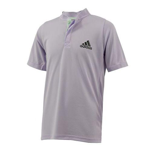 adidas Boys Henley Collar Polo Shirt Purple Tint/Legend Earth FK7142