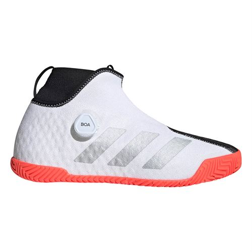 adidas Stycon BOA Mens Tennis Shoe White/Silver Metallic/Solar Red FU7933