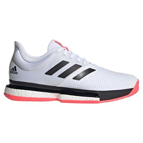 adidas SoleCourt Mens Tennis Shoe White/Core Black/Signal Pink FU8114