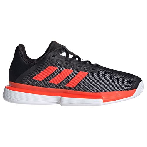 adidas SoleMatch Bounce Mens Tennis Shoe Core Black/Solar Red/White FU8117