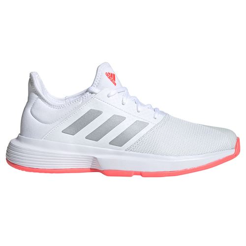 adidas GameCourt Womens Tennis Shoes White/Silver Met/Signal Pink FU8130