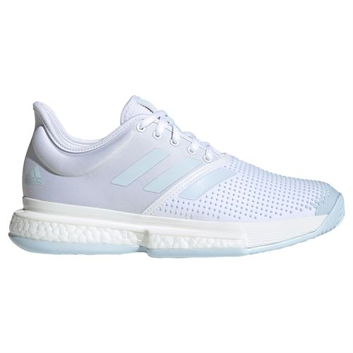 adidas Solecourt Womens Tennis Shoes White/Sky Tint FU8132