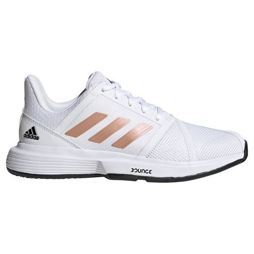 adidas Courtjam Bounce Womens Tennis Shoes White/Copper Met/Core Black FU8147