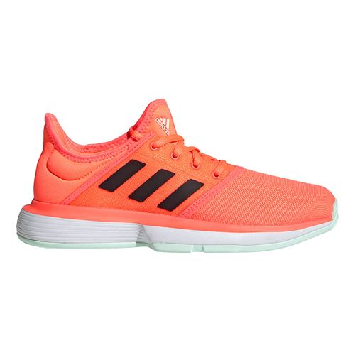 adidas Sole Court Junior Tennis Shoe Signal Coral/Core Black/Dash Green FV3092