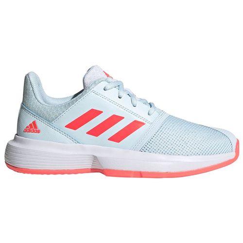 adidas CourtJam Junior Tennis Shoes Sky Tint/Signal Pink/White FV4124