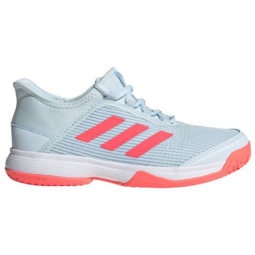 adidas Adizero Club Junior Tennis Shoes Sky Tint/Signal Pink/White FV4133