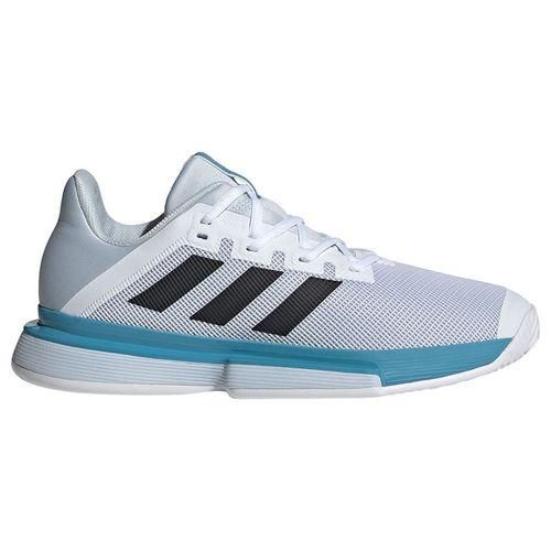 adidas SoleMatch Bounce Mens Tennis Shoe White/Core Black/Halo Blue FX1732