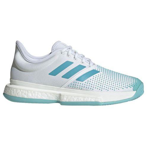9320a2040edd adidas Sole Court Boost Parley Womens Tennis Shoe - White Blue Spirit