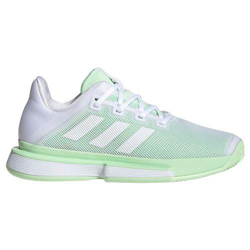 adidas Sole Match Bounce Womens Tennis Shoe - White/Glow Green