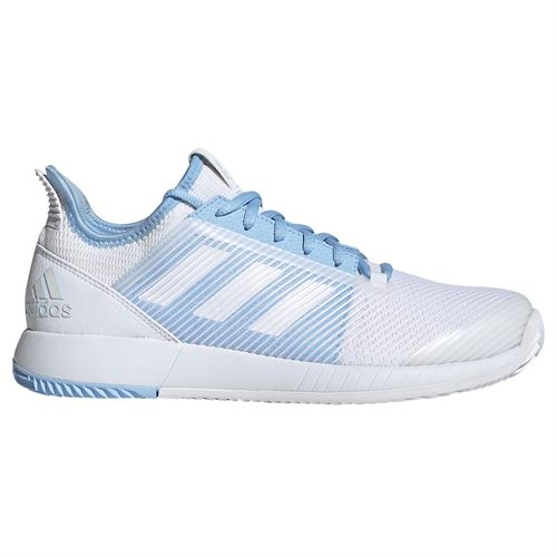 adidas adizero Defiant Bounce 2 Womens Tennis Shoe - White/Glow Blue
