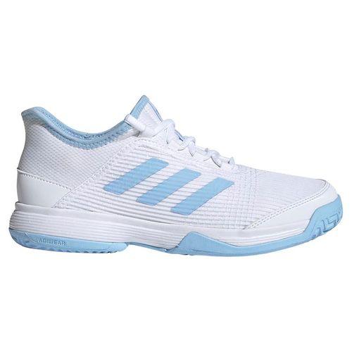 adidas adizero Club Junior Tennis Shoe - White/Glow Blue