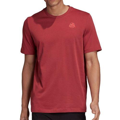 adidas Tennis Graphic Logo Tee Shirt Mens Legacy Red GD9222