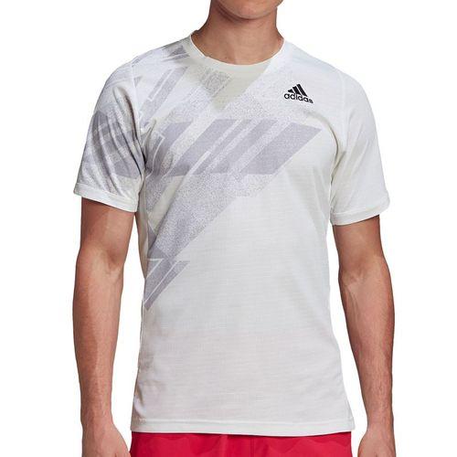 adidas Freelift Print Crew Shirt Mens White/Power Pink GG5244