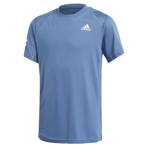 adidas Boys Club 3 Stripe Tee Shirt Crew Blue/White GK8178
