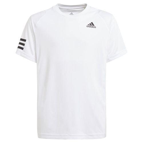 adidas Boys Club 3 Stripe Tee Shirt White/Black GK8180