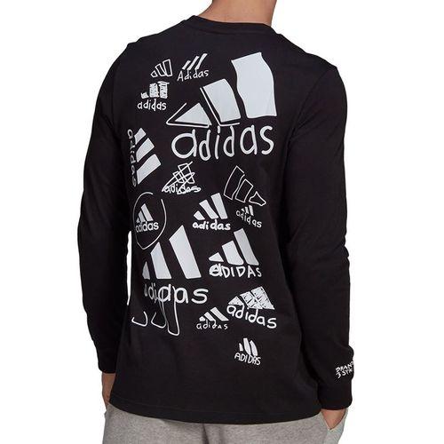 adidas Scribble Long Sleeve Tee Shirt Mens Black GN6853