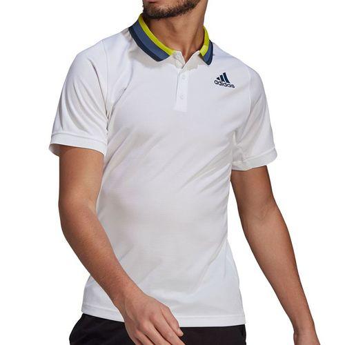 adidas Freelift Polo Shirt Mens White/Crew Navy GP5736