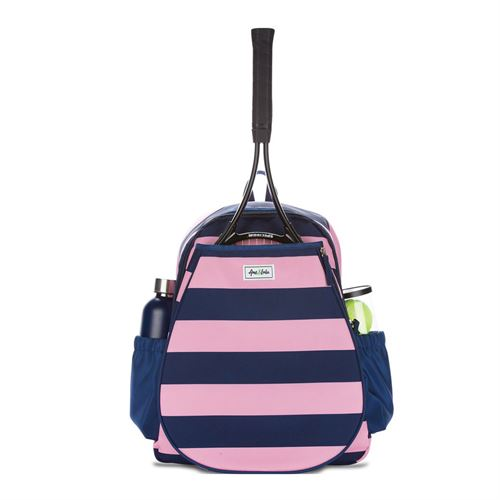 Ame and Lulu Game On Tennis Backpack - Bubbly Pink/Navy Stripe