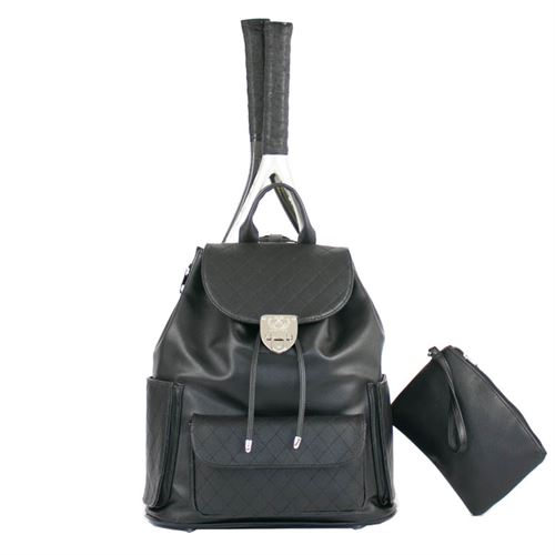 Court Couture Hampton Quilted Black Tennis Backpack