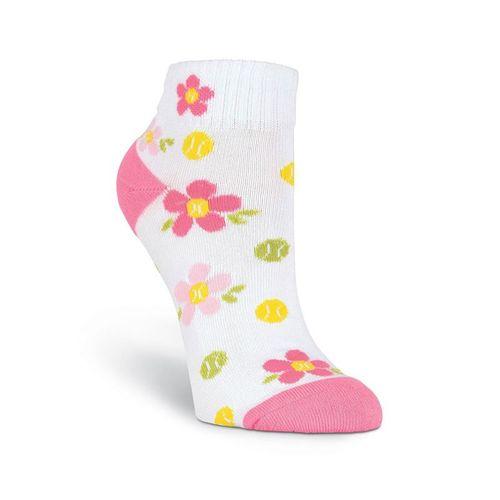 K-Bell Sports Flower Tennis Ball Low Cut Sock - White