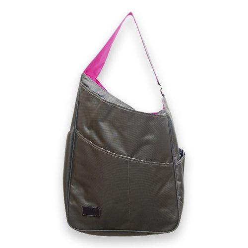 Maggie Mather Tennis Bag Pewter Fuchsia