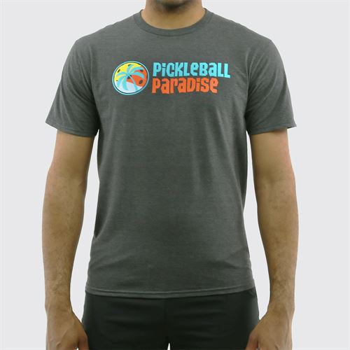 Pickleball Paradise Logo Tee - Dark Heathered Charcoal Grey
