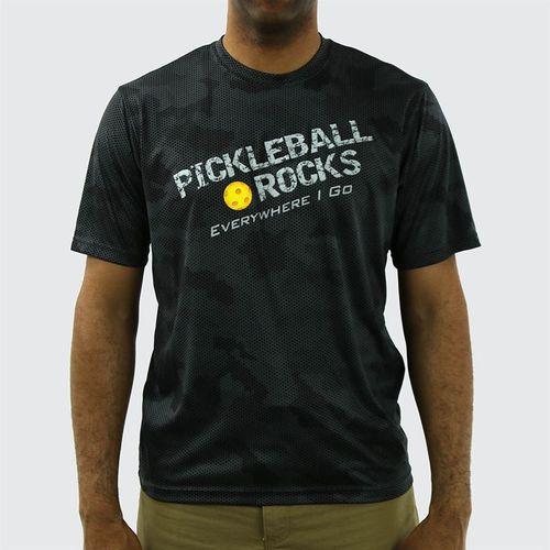 Pickleball Rocks Everywhere I Go Crew Shirt - Iron Grey Camo Print