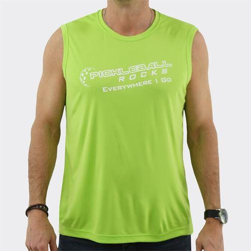 Pickleball Rocks Sleeveless Shirt - Lime