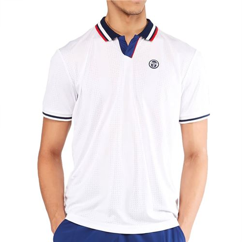 Sergio Tacchini Paris Polo Shirt Mens Blanc De Blanc/Blue Depths STMS2138925 126