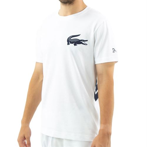Lacoste Tee Mens White/Navy Blue TH2246 AJ0û