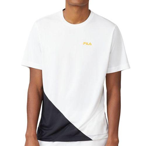 Fila Break Point Crew Shirt Mens White/Black/Gold Fusion TM015353 100