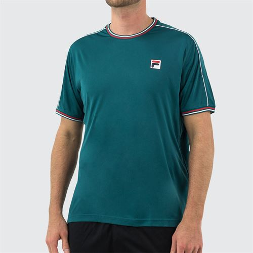 Fila Legend Piped Crew Shirt Mens Pacific/White/Chinese Red TM015365 982