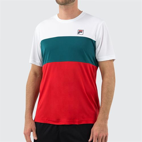Fila Legend Colorblocked Crew Shirt Mens White/Chinese Red/Pacific TM015366 100