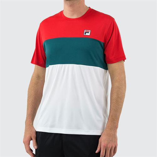 Fila Legend Colorblocked Crew Shirt Mens Chinese Red/White/Pacific TM015366 622