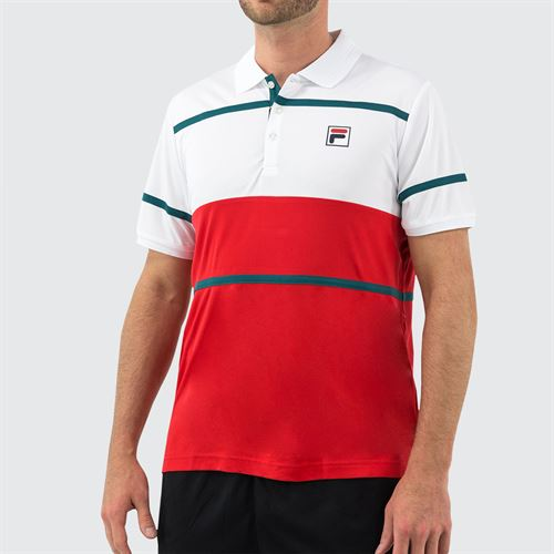 Fila Legend Polo Shirt Mens White/Chinese Red/Pacific TM015368 100