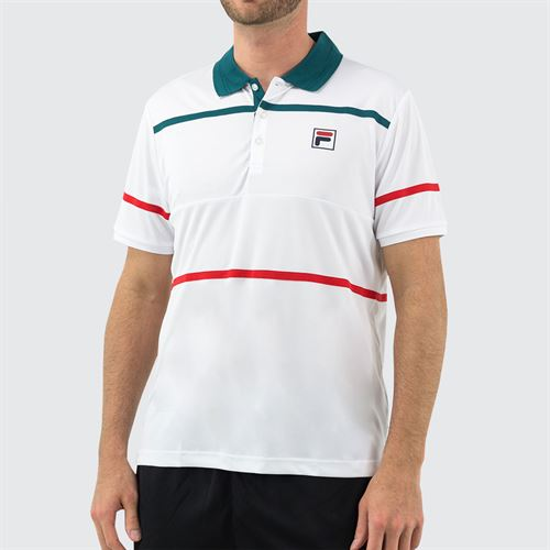 Fila Legend Polo Shirt Mens White/Pacific/Chinese Red TM015368 101