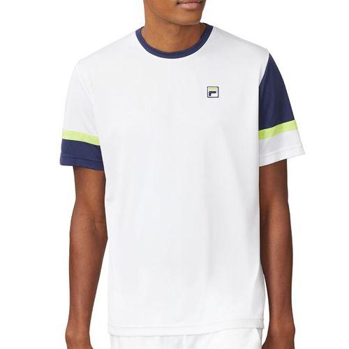 Fila PLR Doubles Crew Shirt Mens White/Blueprint/Acid Lime TM016281 100