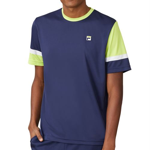 Fila PLR Doubles Crew Shirt Mens Blueprint/White/Acid Lime TM016281 919