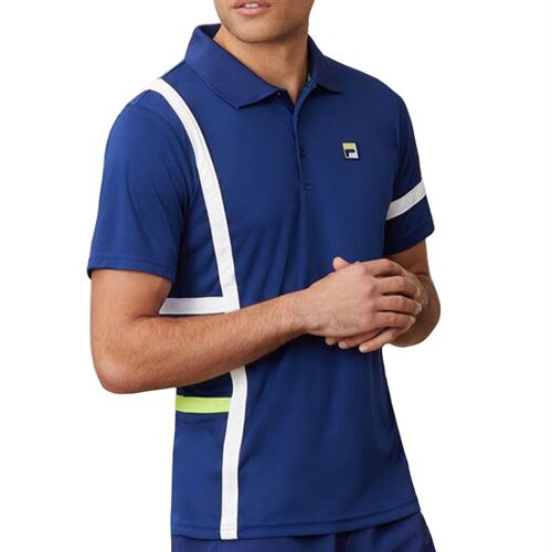 Fila PLR Singles Polo Shirt Mens Blueprint/White/Acid Lime TM016282 919