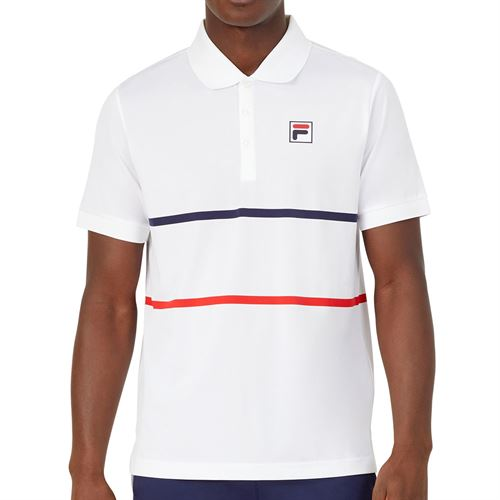 Fila Heritage Tennis Stripe Polo Shirt Mens White/Navy/Chinese Red TM036842 100