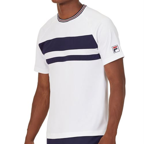 Fila Heritage Court Tennis Crew Shirt Mens White/Navy TM036844 100