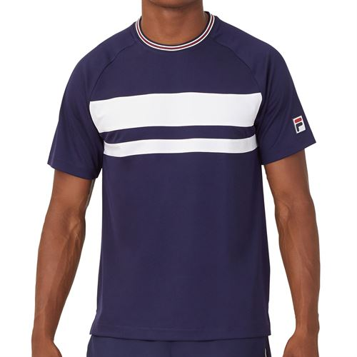 Fila Heritage Court Tennis Crew Shirt Mens Navy/White TM036844 412