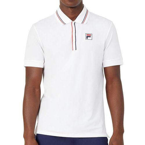 Fila Heritage Tennis Jaquard Polo Shirt Mens White TM036845 100