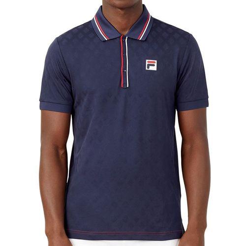 Fila Heritage Tennis Jaquard Polo Shirt Mens Navy TM036845 412